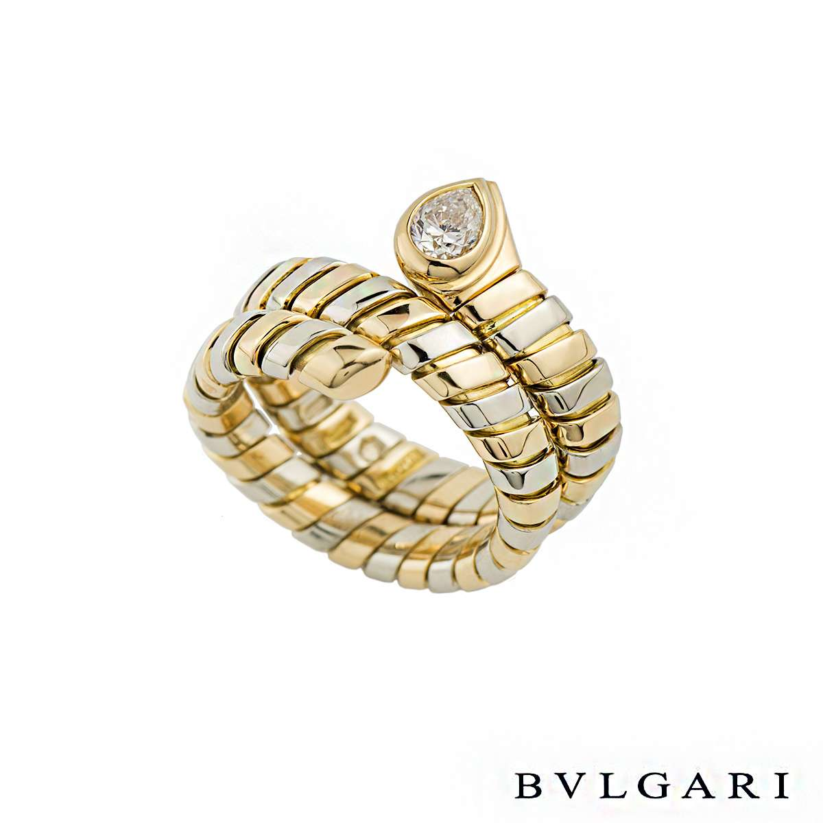 Bvlgari 18k Yellow & White Gold Diamond Tubogas Ring 0.38ct